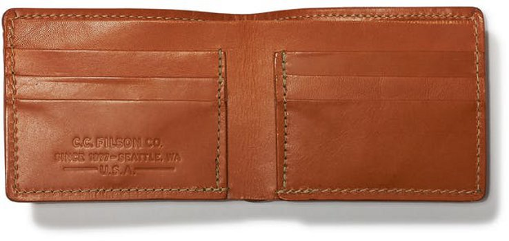 Filson Bridle Leather Bi-Fold Wallet-Open View  11070399